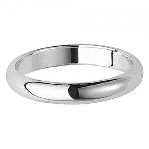 Silver D Shape Wedding Ring 3mm Size V