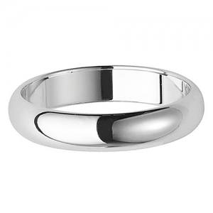 Silver D Shaped Wedding Ring 4mm Q