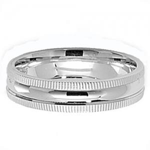Silver Miligrain Edge Wedding Ring 5mm Q