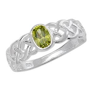 Silver Celtic Green Stone Ring M