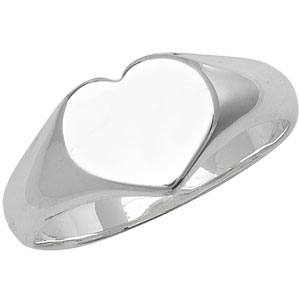 Silver Plain Heart Signet Ring G7397E