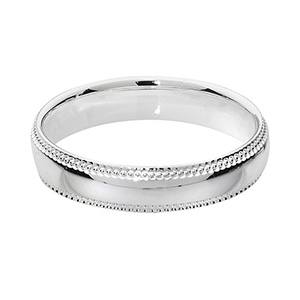 Silver Court Millgrain Edge Wedding Ring 4mm