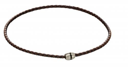 Stainless Steel Brown Leather Necklet 45cm