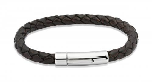 Dark Brown Leather Bracelet With Steel Clasp 23cm