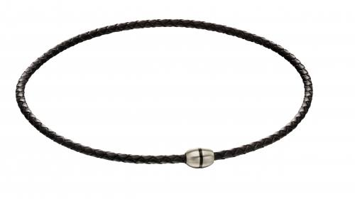 Stainless Steel Black Leather Necklet 45cm
