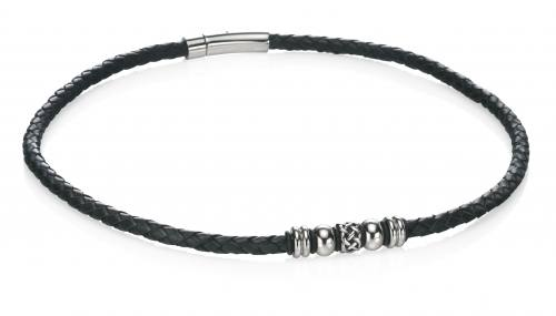 Stainless Steel Black Leather Necklet 51cm