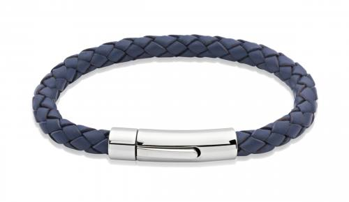 Blue Leather Bracelet With Steel Clasp 21cm