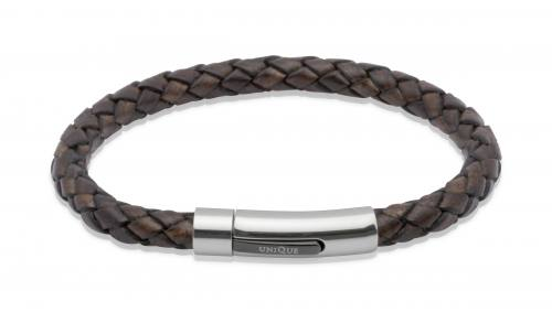 Dark Brown Leather Bracelet With Steel Clasp 21cm