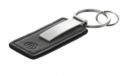 Stainless Steel and Black Leather Alloy Key Ring