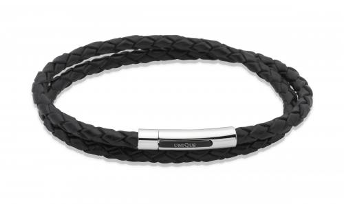 Black Leather Bracelet With Steel Clasp 21cm
