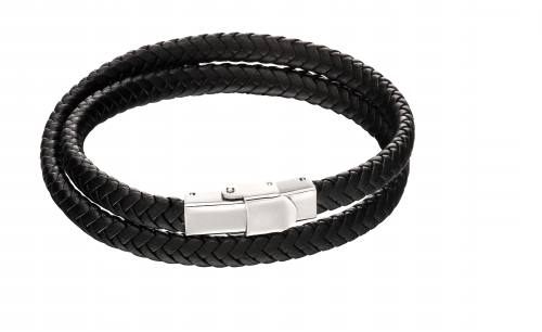 Stainless Steel Black Double Wrap Around Bracelet