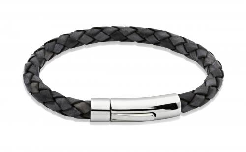 Black Leather Bracelet With Steel Clasp 19cm