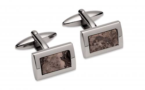 Stainless Steel Cufflinks With Grey Stone