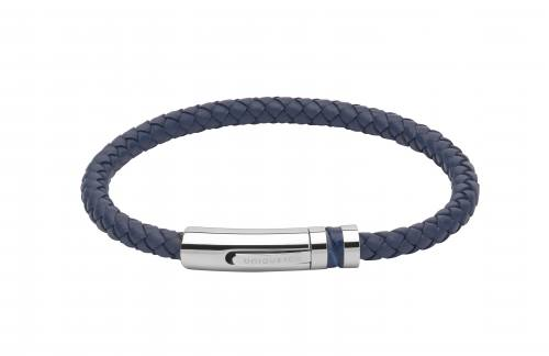 Blue Leather Bracelet With Steel Clasp 19cm
