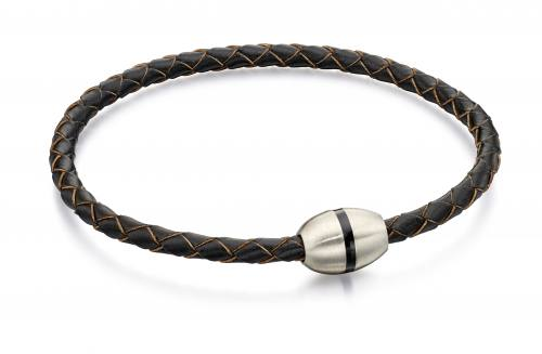 Stainless Steel Brown Leather Bracelet 21cm