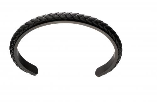 Stainless Steel Black Leather Bangle 70cm
