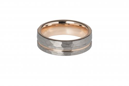 Tungsten Hammered Effect Ring With Rose Plating