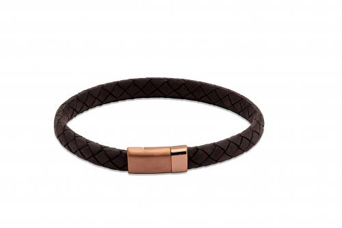 Black Leather Bracelet With Steel Magnetic Clasp