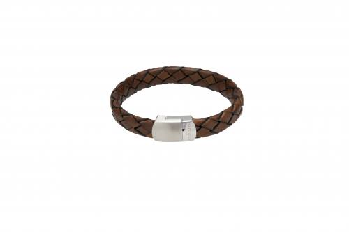 Dark Brown Leather Bracelet With Matte Steel Clasp