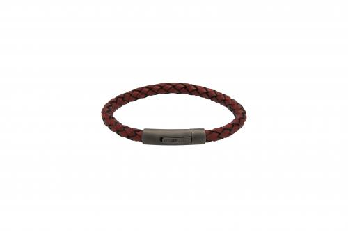 Red Leather Bracelet With Gunmetal Steel Clasp