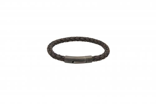 Moro Leather Bracelet With Matte Gunmetal Steel