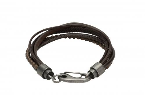 Dark Brown Leather Beaded Triple Strand Bracelet