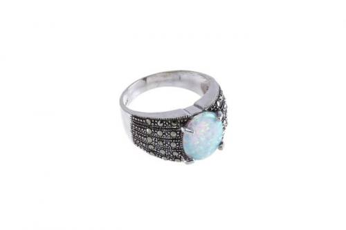 Silver Marcasite and Created Opal Ring