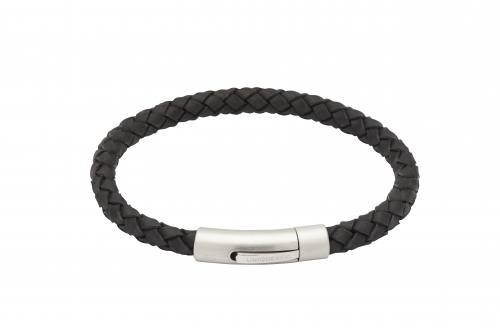 Black Leather Bracelet With Matte Steel Clasp 21cm