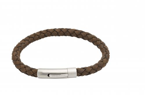 Dark Brown Leather Braclet With Matte Steel Clasp