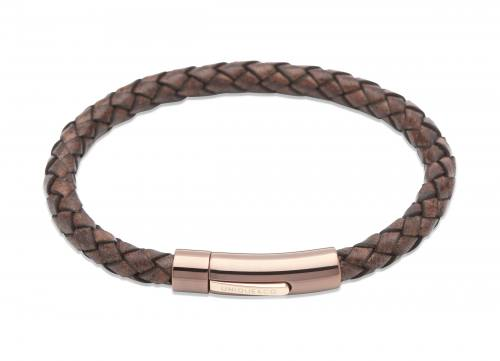 Dark Brown Leather Bracelet with Steel Rose Clasp