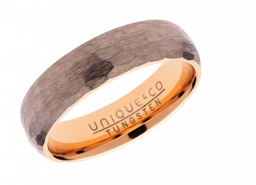 Tungsten Hammered Ring With Rose Plating 6mm