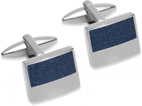 Stainless Steel Cufflinks With Blue Leather Inlay