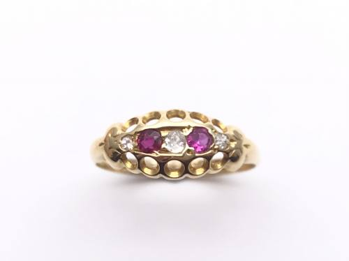18ct Synthetic Ruby and Diamond Ring 1910