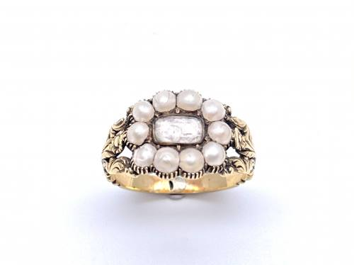 An Old Pearl Mourning Ring Georgian