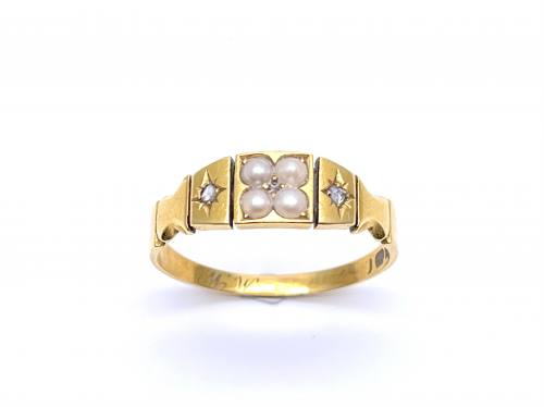 An Old 18ct Yellow Gold Pearl & Diamond Ring