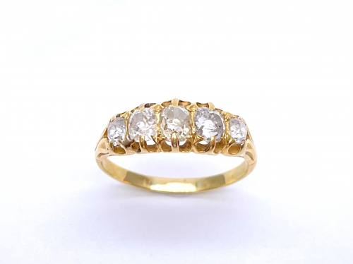 An Old Diamond 5 Stone Ring Est. 0.90ct