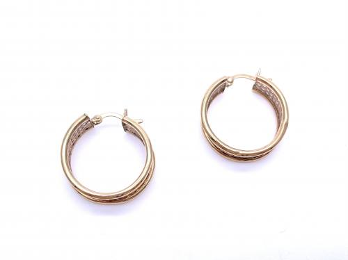 9ct Yellow Gold Mesh Hoop Earrings