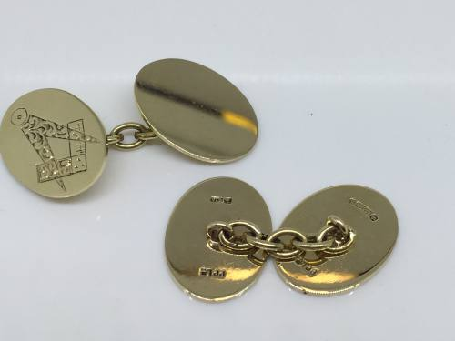 9ct Yellow Gold Masonic Cufflinks