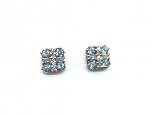 9ct Blue Topaz and Diamond Cluster Earrings