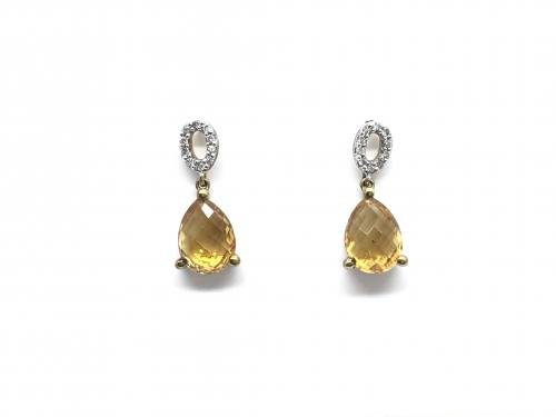 9ct Yellow Gold Citrine and Diamond Earrings