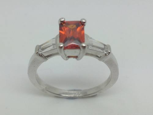 Silver Orange & Clear CZ Ring