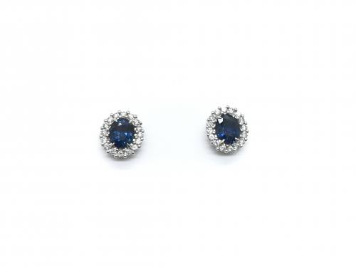18ct White Gold Sapphire & diamond cluster Studs