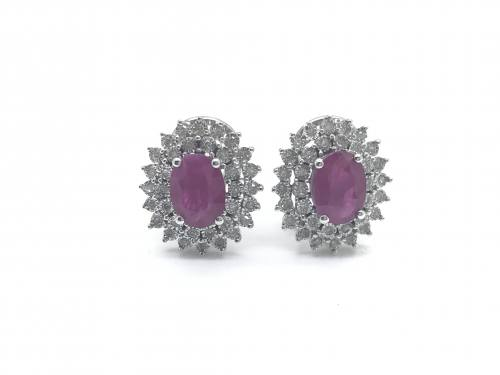 9ct Ruby & Diamond Cluster Studs 0.26ct