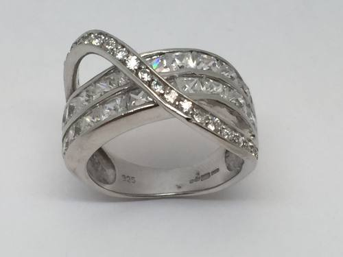Silver Cz Set Double Row Curved Eternity With Loop