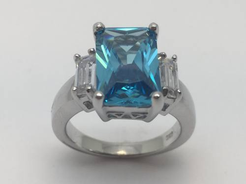 Silver Cz Blue Topaz  Ring 3 Cz Shoulders