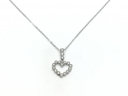 18ct White Gold Diamond Heart Pendant and Chain