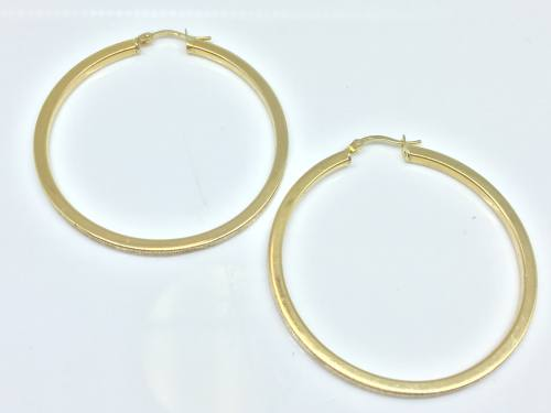 9ct Yellow Gold Frosted Large Hoops