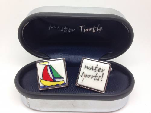 Cufflinks - Water Sports Sailing Boat Base Metal