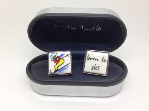 Cufflinks - Born To Ski - Base Metal