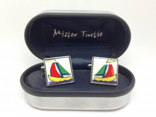 Cufflinks - Sailing Boats -  Base Metal